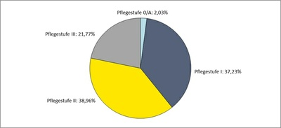 Diagramm zur prozentualen Aufteilung der Pflegestufen